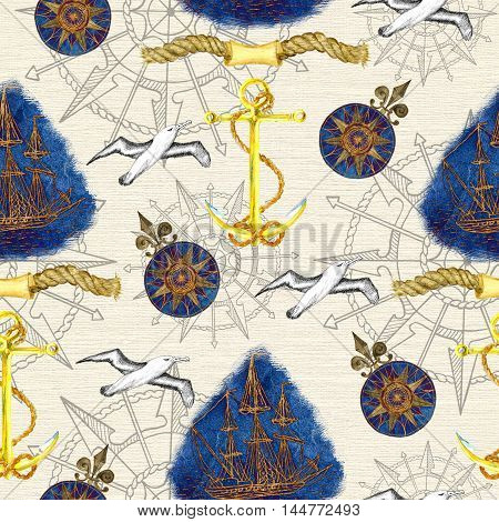 Sea background with anchor, sailing ship, flying gulls and compass on texture. Seamless pattern with hand drawn nautical elements. Repeated colorful illustration