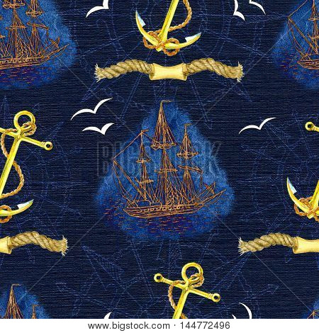 Sea pattern with golden anchor, sailing ship, flying gulls and silhouette of compass on blue texture. Seamless background with hand drawn nautical elements. Repeated colorful illustration