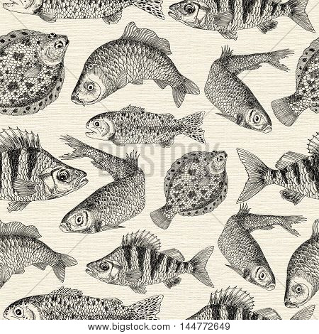 Seamless pattern with engraved freshwater and saltwater fishes on texture background. Hand drawn repeated drawing with marine life elements like herring, trout, plaice, crucian