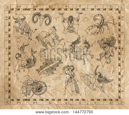 Collage with zodiac symbols and sky constellations in frame on old paper background. Line art with hand drawn horoscope signs in grunge style. Vintage mystic and astrology illustration with texture