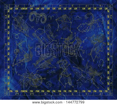 Old blue placard with Zodiac signs and constellations. Line art with hand drawn horoscope signs in grunge style. Vintage mystic and astrology illustration with texture background