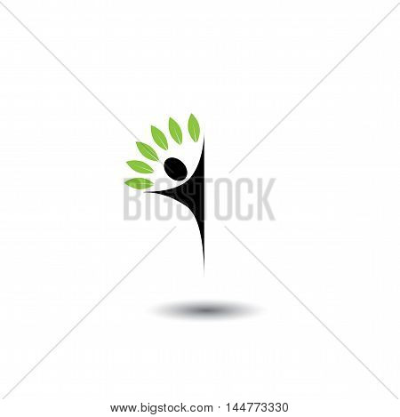 People Tree - Eco Lifestyle Concept Vector Logo Icon