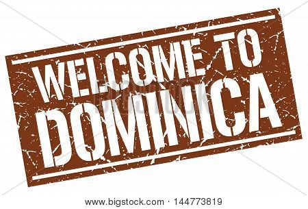 welcome to Dominica. stamp. grunge square sign