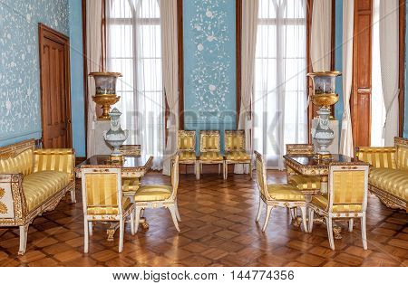 Crimea Russia - 17 June 2015: vintage interior living room of Vorontsov Palace in baroque and rococo style