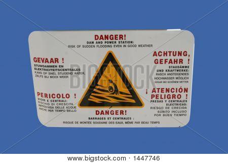 Multilingual Danger Dam Sign