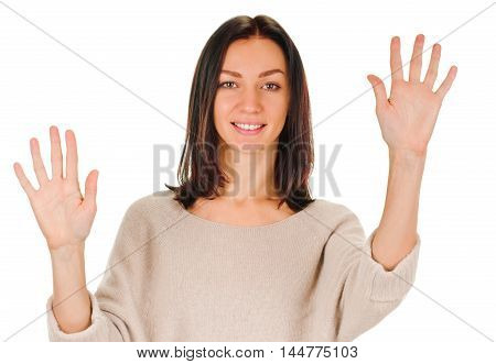 Portrait of happy smiling woman showing ten fingers, isolated over white background