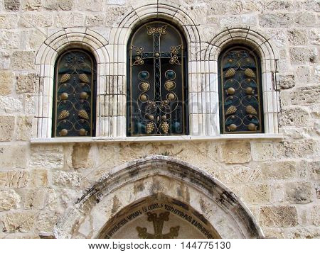 Windows of Church of the Holy Sepulcher in Jerusalem Israel