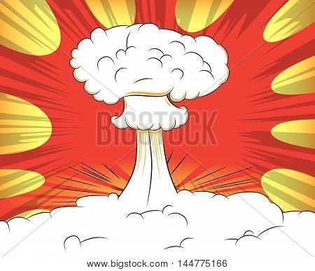 Comic book abstract illustration with atomic explosion