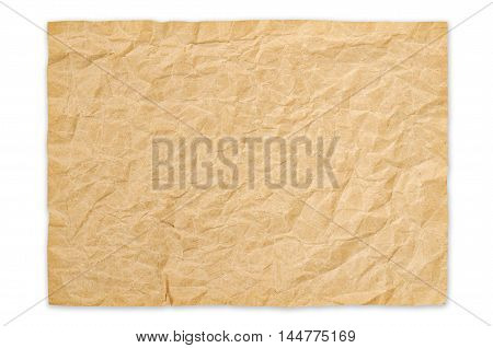 Old Crumpled Paper isolated on white background Saved clipping path.