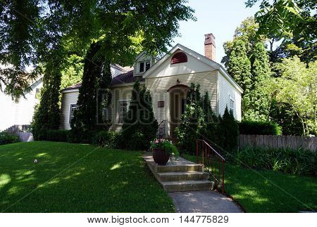 PETOSKEY, MICHIGAN / UNITED STATES - AUGUST 5, 2016: The historic William L. Curtis House, on Division Street near downtown Petoskey, Michigan.