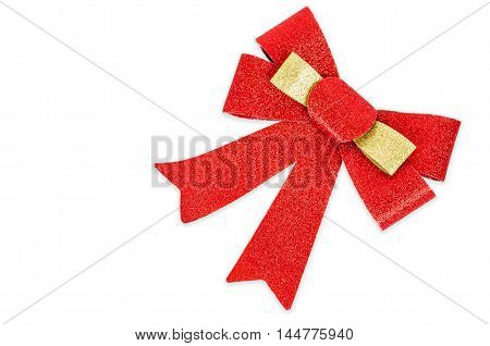 Red gift blitter bow. Ribbon. Isolated on white. Clipping Path