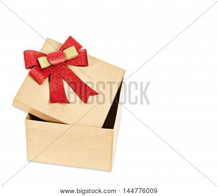 Open brown gift box with red ribbon isolated on white background Saved clipping path.