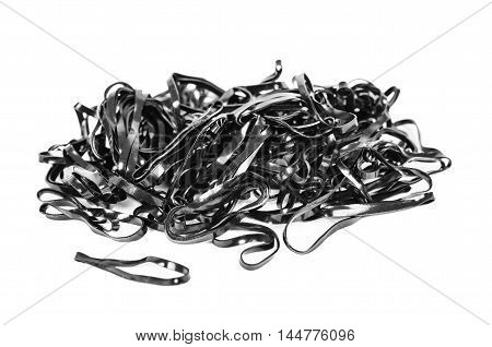 Black rubber bands on a white background
