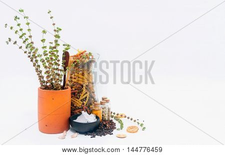 Group Of Indian Spices And Herbs On White Background, Normal View Mix Indian Spices And Herbs Differ