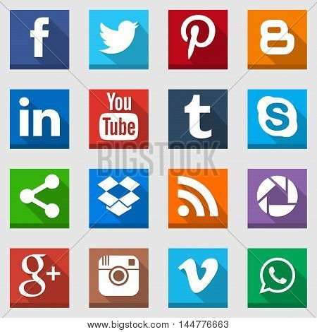 Pack of high quality social media icons with flat style and long shadow, perfect for your website or application icon.