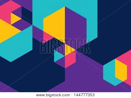 Vector of abstract colorful hexagon background