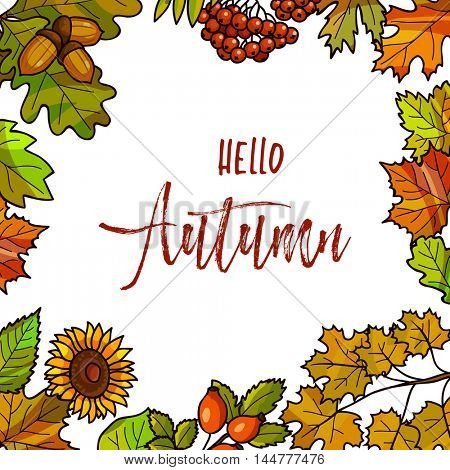 Autumnal or fall round frame background. Wreath of autumn leaves. Vector illustration.
