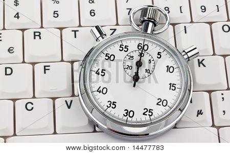 Stop watch on computer keyboard