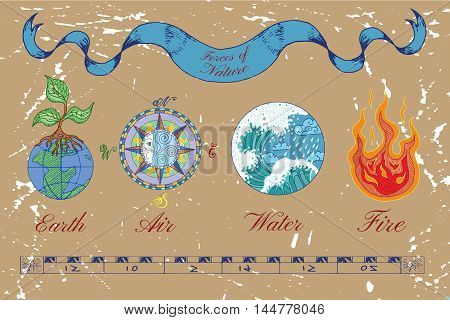 Colorful hand drawn set with four nature elements on texture background. Symbols of Earth or ground, air, water and fire. Line art vector illustrations. Doodle drawings with emblems and banner
