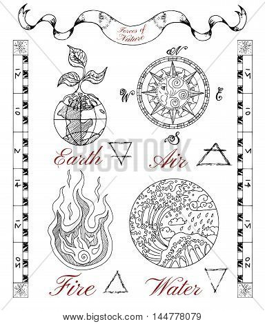Graphic hand drawn set with four nature elements on texture background. Symbols of Earth or ground, air, water and fire. Line art vector illustrations. Doodle drawings with emblems and banner