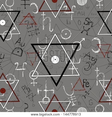 Seamless background with pentagram and mystic signs. Line art vector with magic symbols. Doodle evil and satanic illustration, halloween hand drawn repeated background