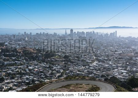 San Francisco,California,USA - July 27, 2016 : San Francisco seen from Twin Peaks