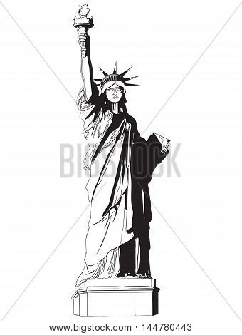 Statue of liberty sign vector american independence badge liberty