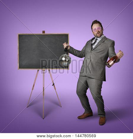 Empty blackboard with drunk businessman color background