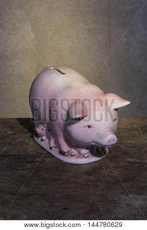 Pig bank ceramic still life , art