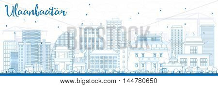 Outline Ulaanbaatar Skyline with Blue Buildings. Vector Illustration. Business Travel and Tourism Concept with Historic Buildings. Image for Presentation Banner Placard and Web Site.