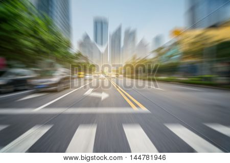 City road with moving car,tianjin china.