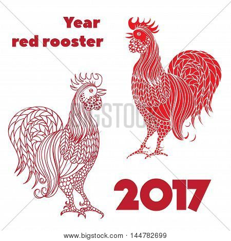 Set of red roosters.. Hand-drawn doodle contour and silhouette. Vector illustration. Symbol 2017 New Year Chinese horoscope.
