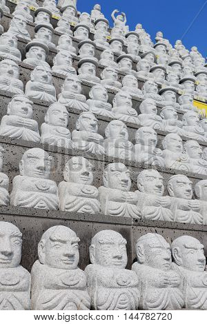 Pattern of stone buddhist monk in Sanbangsa TempleJeju Island South Korea