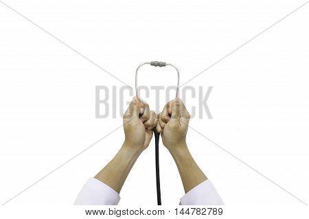 Hand Hold Stethoscope Isolated
