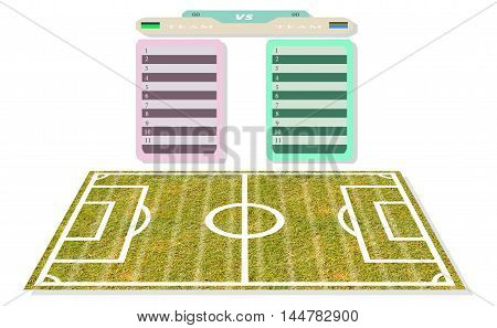 football Field name list scoreboard for design plans to play texture pattern and background Isolated white background