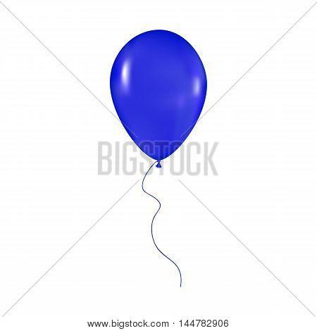 blue shiny balloon with ribbon isolated on white background