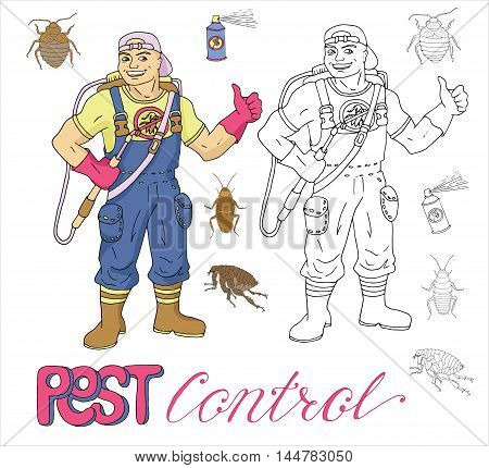 Hand drawn set with pest control exterminator, bugs and pests. Doodle line art illustration and graphic sketch, vector with icons of parasites and handsome man