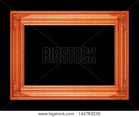 frame vintage blank picture frame wooden carved isolated on black background.