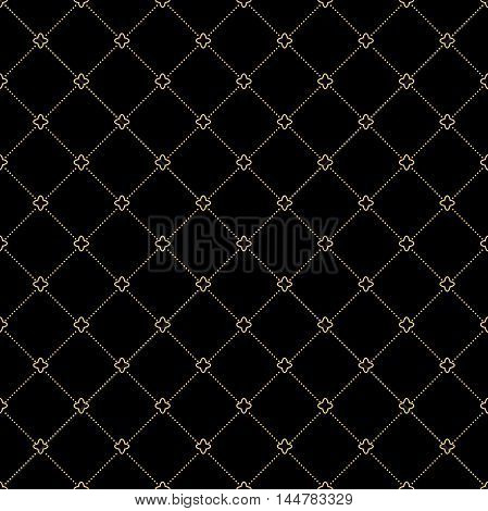 Geometric repeating ornament with diagonal dotted lines. Seamless abstract modern pattern. Black and golden pattern