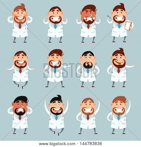 Vector image of the set of cartoon doctors