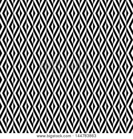 Seamless geometric black and white pattern by stripes. Modern background with repeating lines. Seamless geometric background