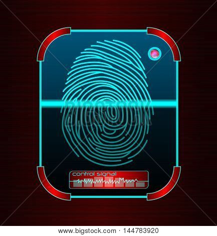 Illustration of blue Fingerprint scanning, identification system
