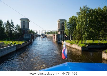 Gateway of the Moscow Canal (Moscow-Volga Canal) in the early morning