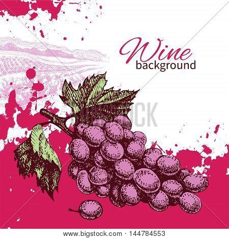 Wine vintage background. Hand drawn vector illustration