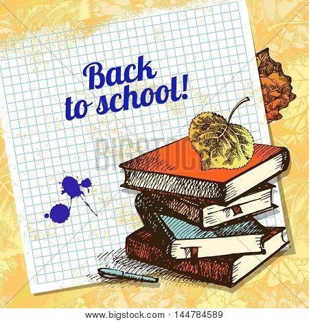 Back to school vector design. Hand drawn vintage  background
