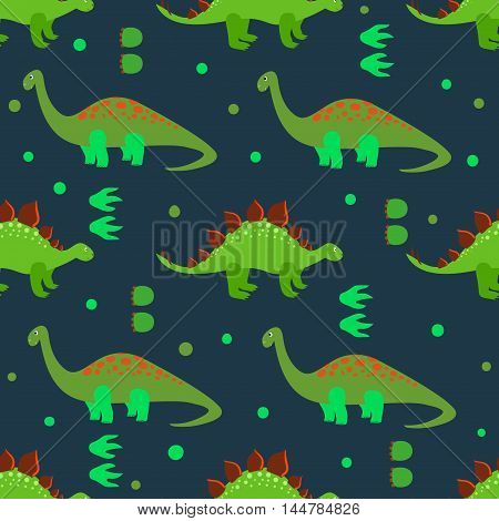 Cute dinosaurs seamless pattern. Vector background with cartoon green dinosaurs and footprints on dark.