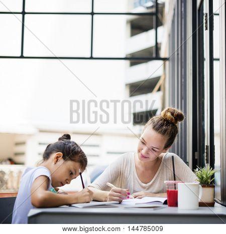 Female Trainer Teacher Practicing Education Girl Concept