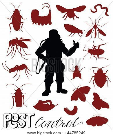 Big set with silhouettes of dangerous insects and pest control man isolated on white. Exterminator and garden invaders. Black and white vector illustration with hand drawn icons.