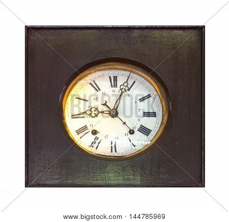 clock wooden Old isolated on a white background.