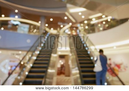 Blurred empty escalator in shopping mall interior